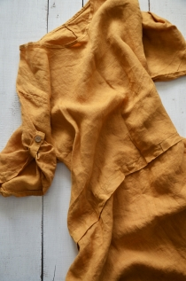 Linen dress Mustard 1